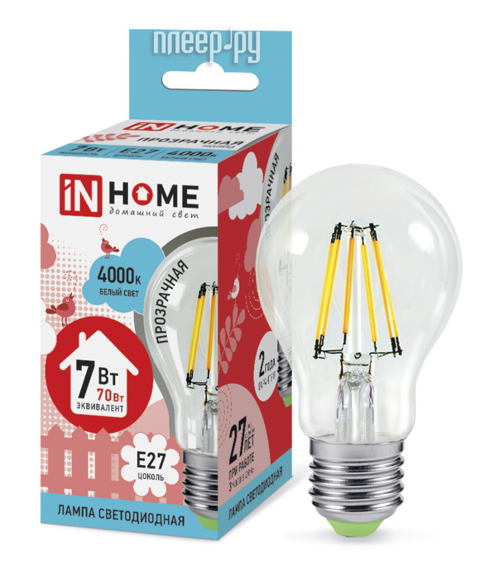 Лампочка IN HOME LED-A60-deco 7W 4000K 230V 630Lm E27 Clear 4690612008059