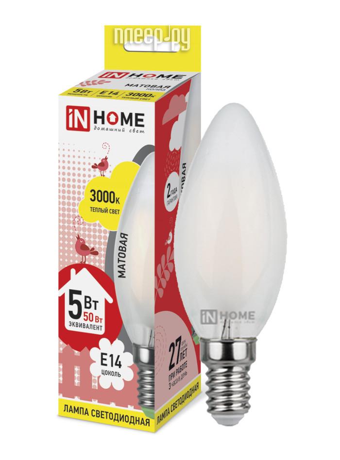 Лампочка IN HOME LED-СВЕЧА-deco 5W 3000K 230V 450Lm E14 Matte 4690612006826