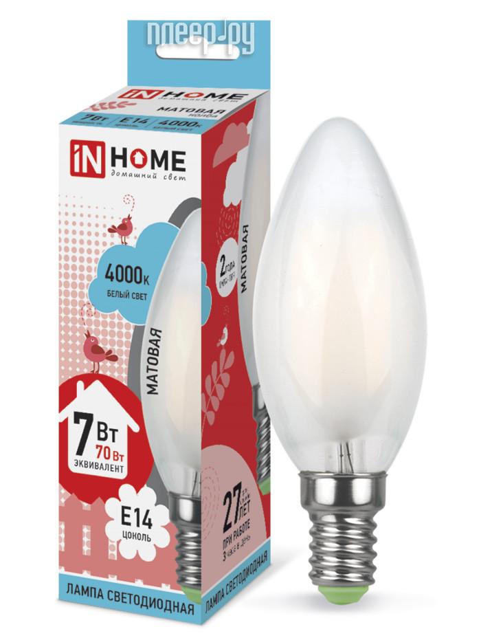 Лампочка IN HOME LED-СВЕЧА-deco 7W 4000K 230V 630Lm E14 Matte 4690612006789