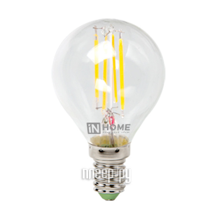 Лампочка IN HOME LED-ШАР-deco 5W 3000K 230V 450Lm E14 Clear 4690612007687