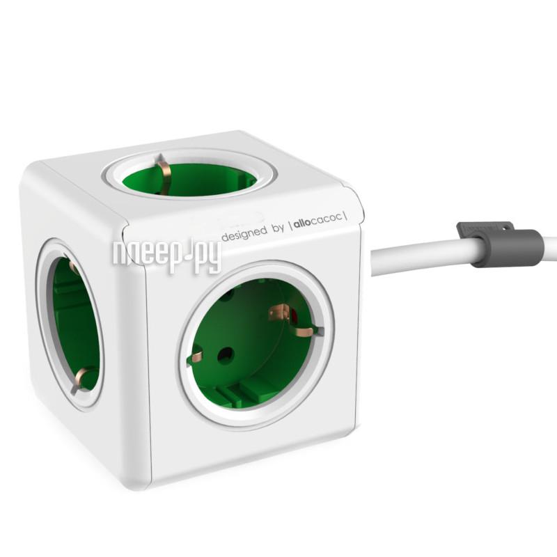 Сетевой фильтр Allocacoc PowerCube Extended DE 1.5m Green 1300GN/DEEXPC