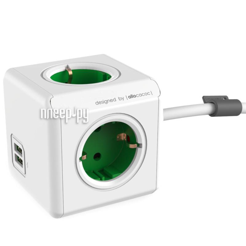 Сетевой фильтр Allocacoc PowerCube Extended USB DE 1.5m Green 1402GN/DEEUPC