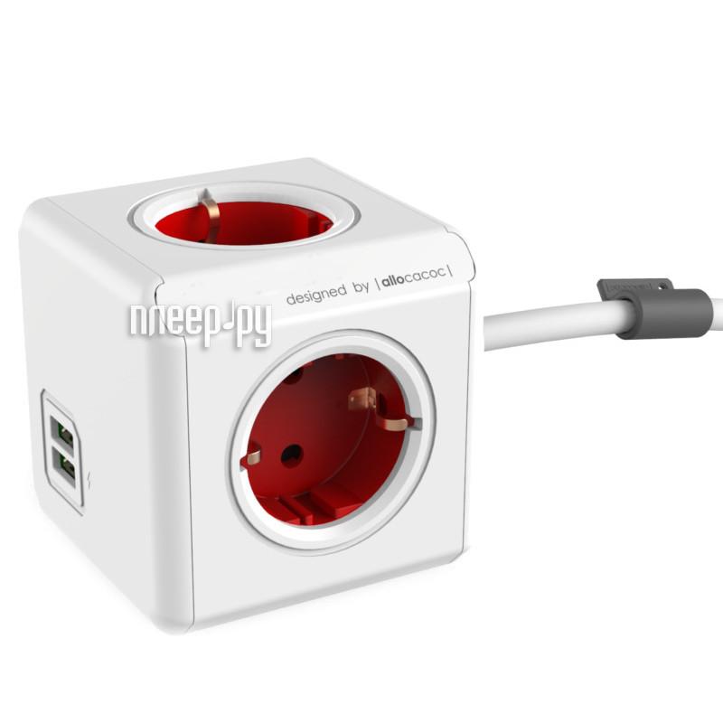 Сетевой фильтр Allocacoc PowerCube Extended USB DE 1.5m Red 1402RD/DEEUPC