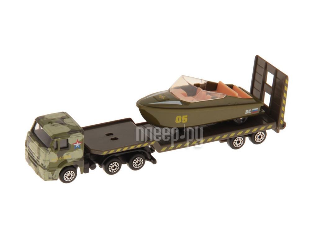 Машина Технопарк КАМАЗ транспортер военный с лодкой SB-16-30-M