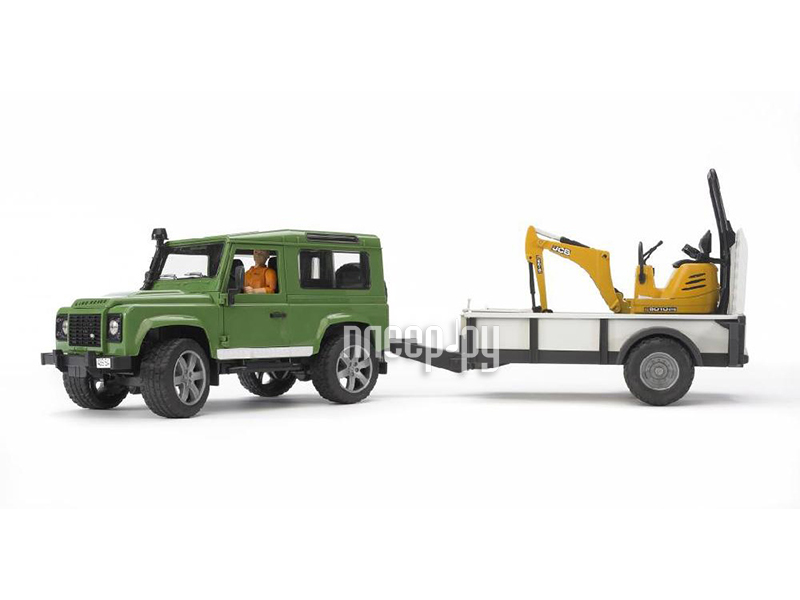 Машина Bruder Land Rover Defender внедорожник c прицепом-платформой, гусеничным мини экскаватором 8010 CTS 02-593