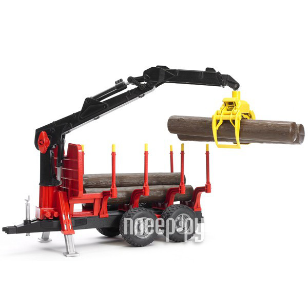 Машина Bruder Прицеп для перевозки леса с манипулятором и брёвнами 02-252