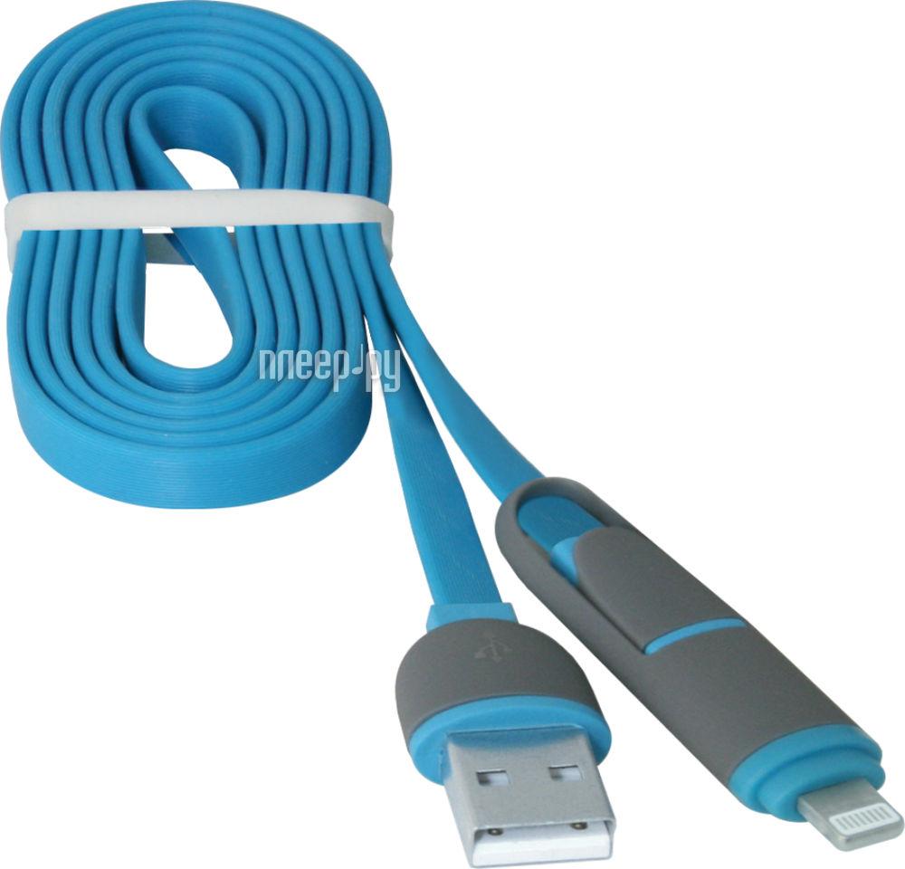 Аксессуар Defender MicroUSB - Lightning 1m USB10-03BP Blue 87487