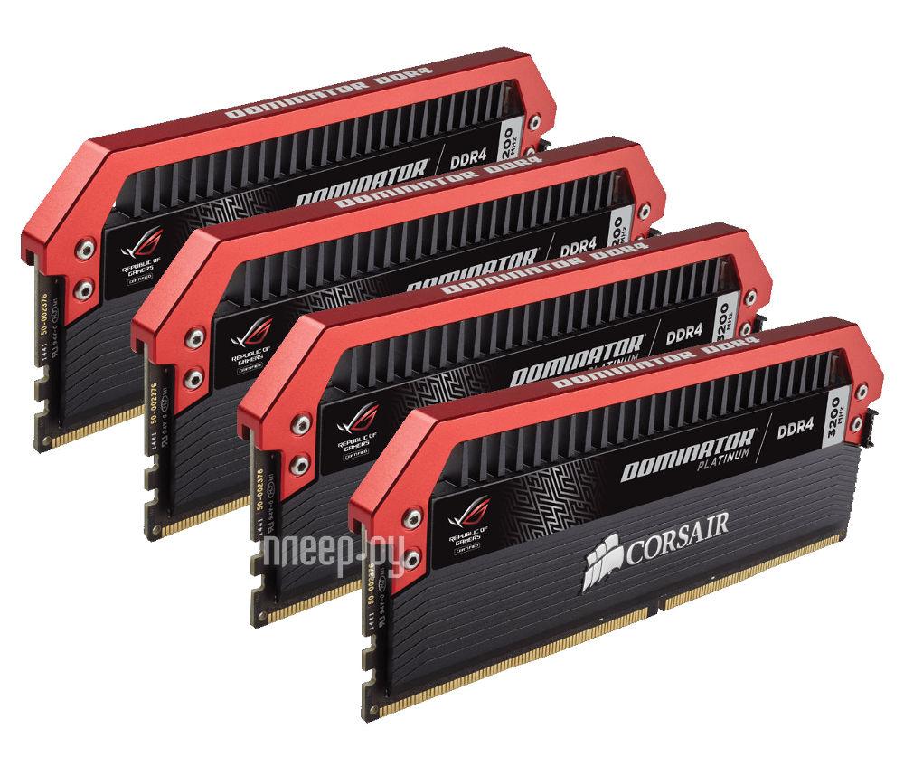 Модуль памяти Corsair Dominator Platinum ROG Edition DDR4 DIMM 3200MHz PC4-25600 CL16 - 32Gb KIT (4x8Gb) CMD32GX4M4C3200C16