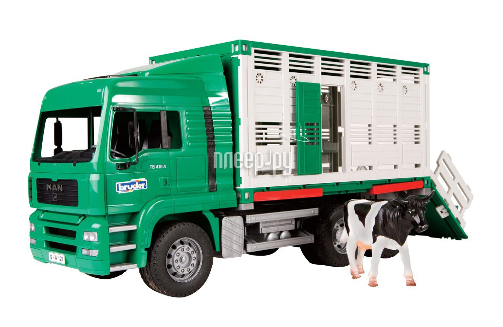 Машина Bruder Фургон MAN для перевозки животных с коровой 02-749