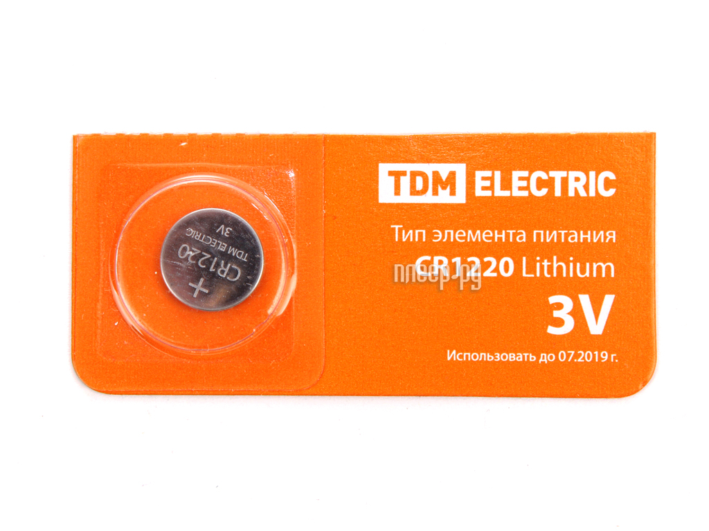 Батарейка CR1220 - TDM-Electric Lithium 3V BP-5 SQ1702-0024 (1 штука)
