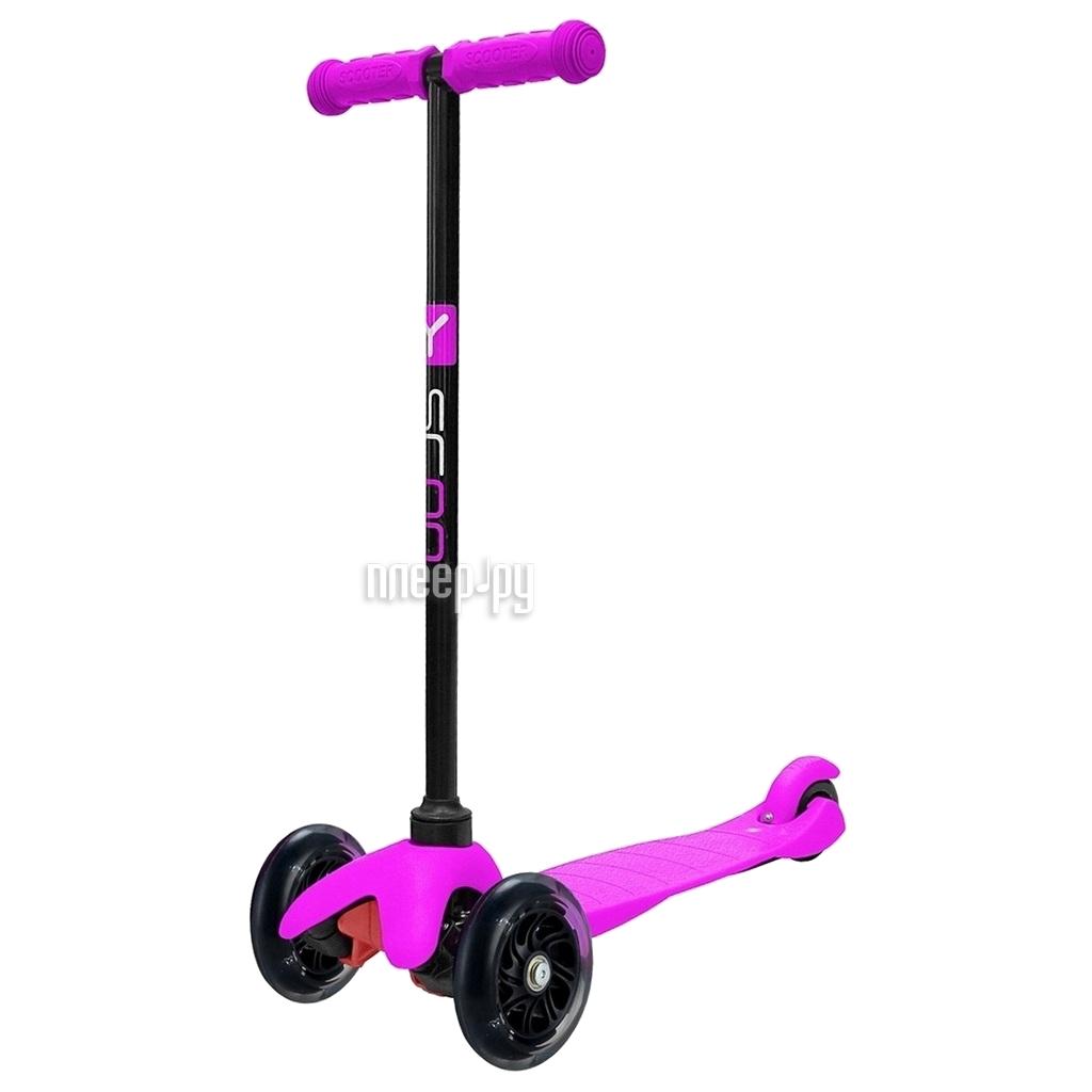 Самокат Y-SCOO mini Shine A-5 Pink со светящими колесами