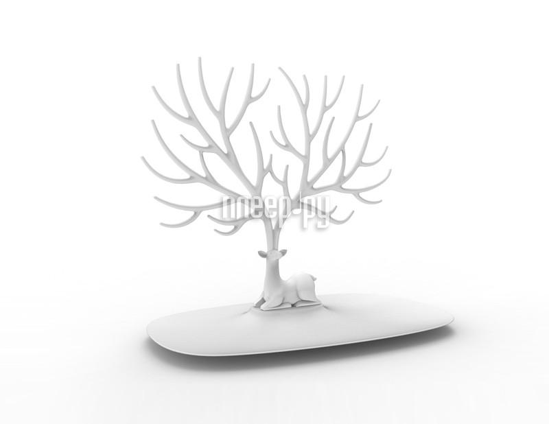 Гаджет Эврика Кольцедержатель. Дерево с оленем Малое White 97550