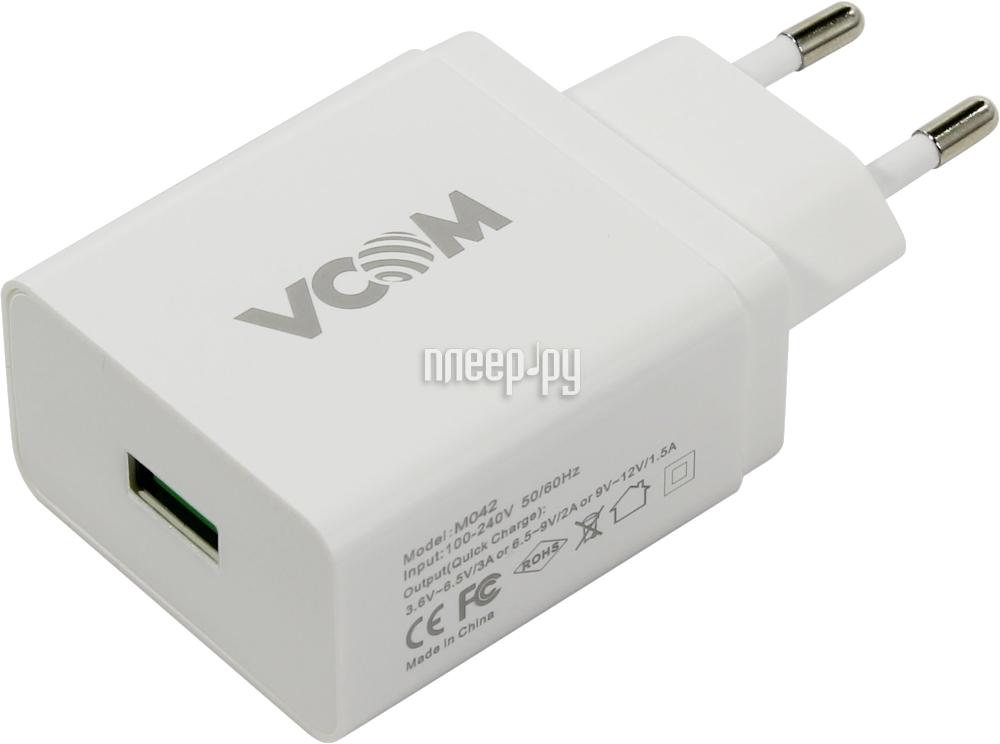 Зарядное устройство VCOM CA-M042 USB 1.5A QUICK CHARGE 3.0