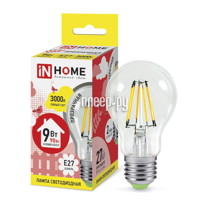 Лампочка IN HOME LED-A60-deco 9W 230V E27 3000K 810Lm Clear 4690612008066