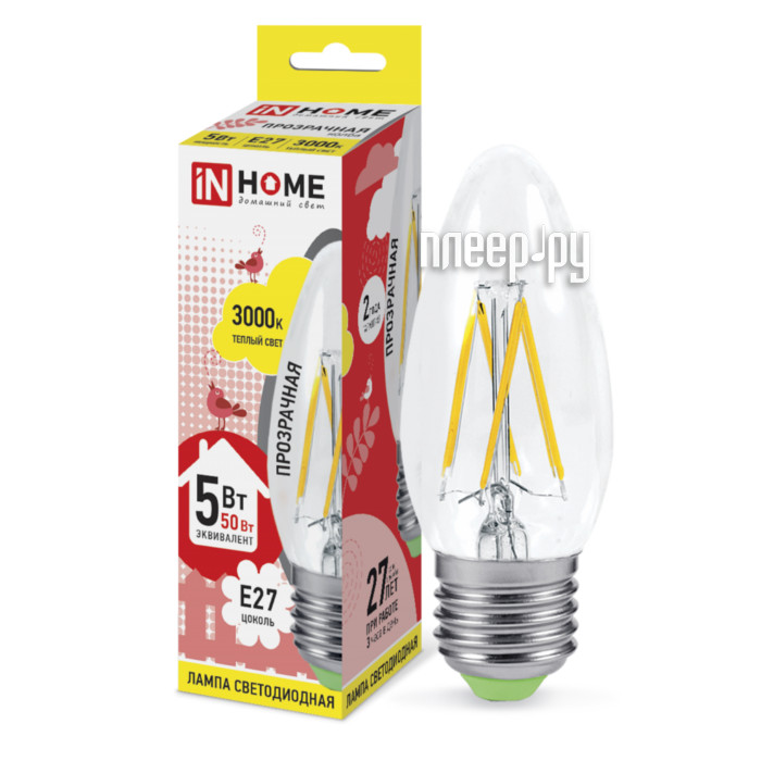 Лампочка IN HOME LED-СВЕЧА-deco 5W 230V E27 3000K 450Lm Clear 4690612007588