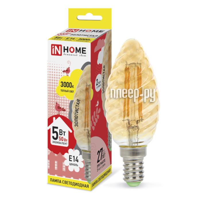 Лампочка IN HOME LED-СВЕЧА ВИТАЯ-deco 5W 230V E14 3000K 450Lm Gold 4690612007199
