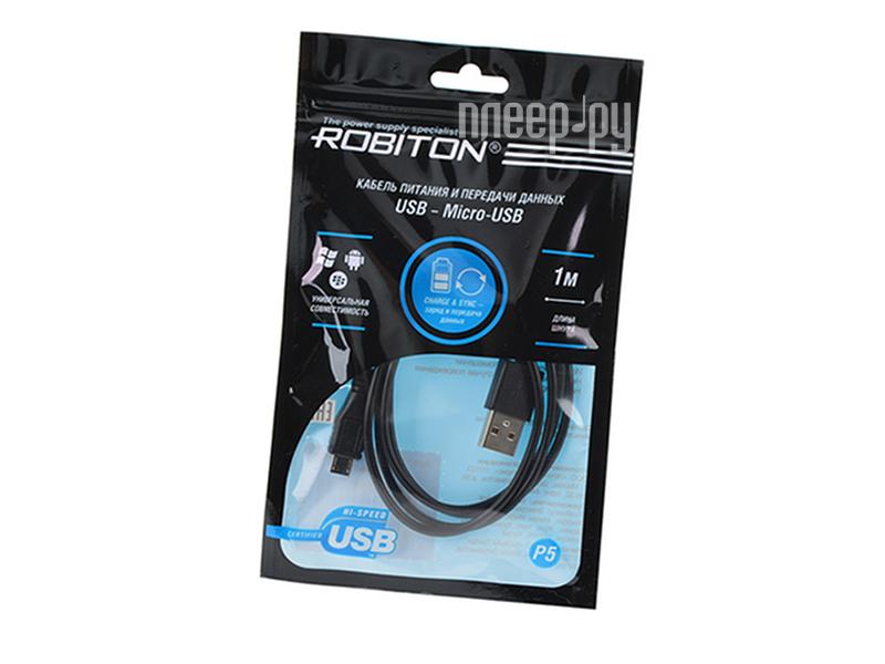 Аксессуар Robiton P5 USB A - Micro USB 1m Black 14291
