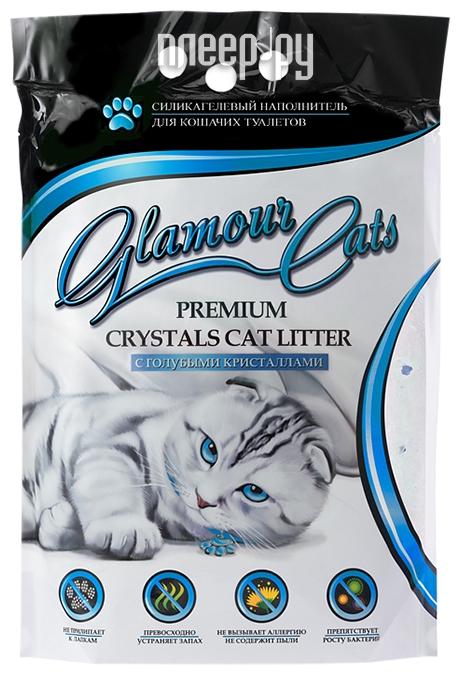Наполнитель Glamour Cats С голубыми кристаллами, антибактериальный 3.8L