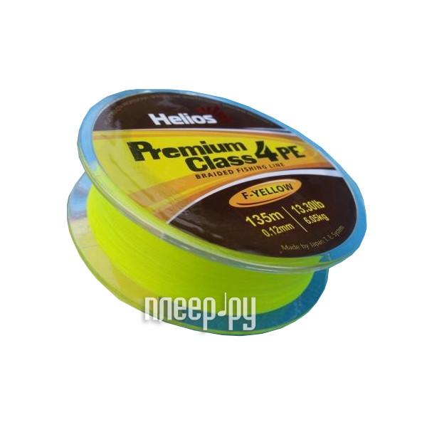 Шнур плетёный Helios Premium Class 4 PE Braid 0.12mm 135m Fluorescent Yellow HS-4PFY-12/135 Y