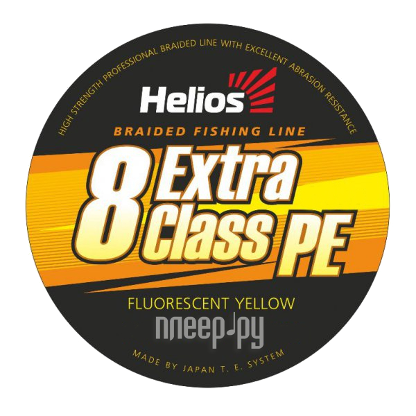 Шнур плетёный Helios Extra Class 8 PE Braid 0.18mm 135m Fluorescent Yellow HS-8PEY-18/135 Y