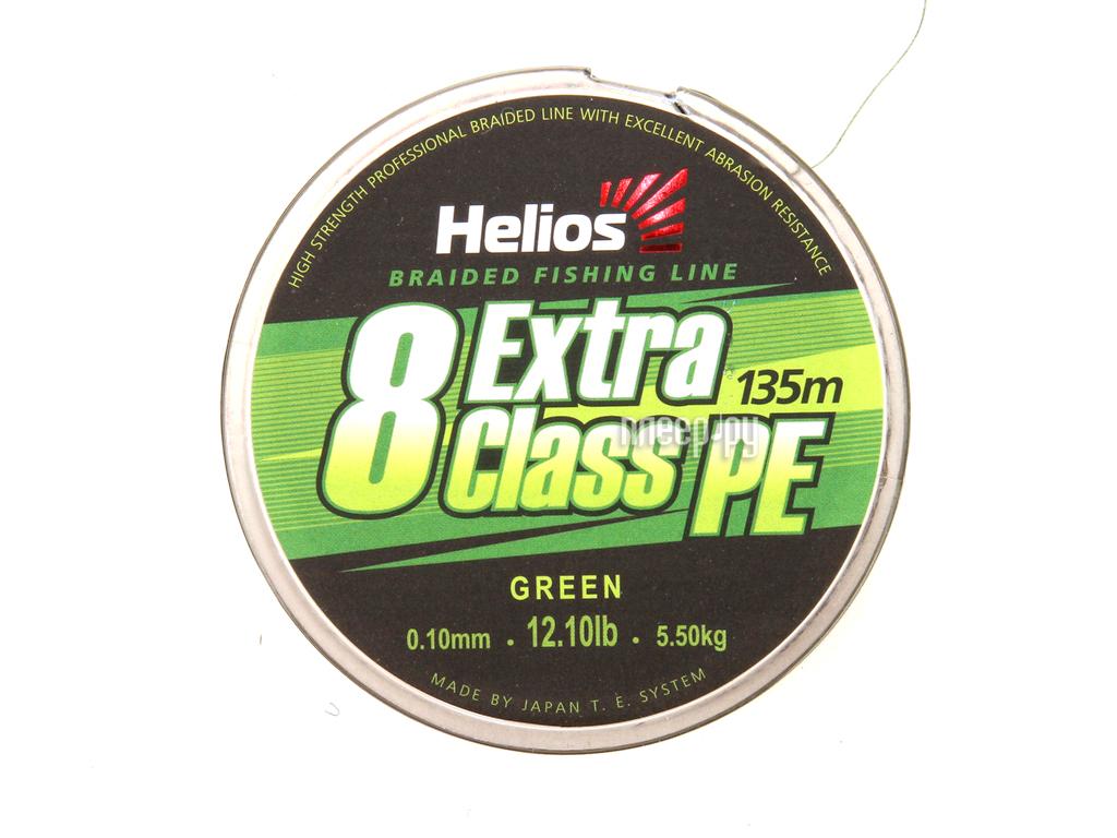 Шнур плетёный Helios Premium Class 4 PE Braid 0.20mm 135m Green HS-4PFG-20/135 G
