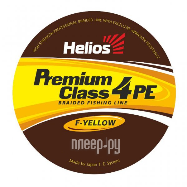 Шнур плетёный Helios Premium Class 4 PE Braid 0.23mm 92m Fluorescent Yellow HS-4PFY-23/92 Y