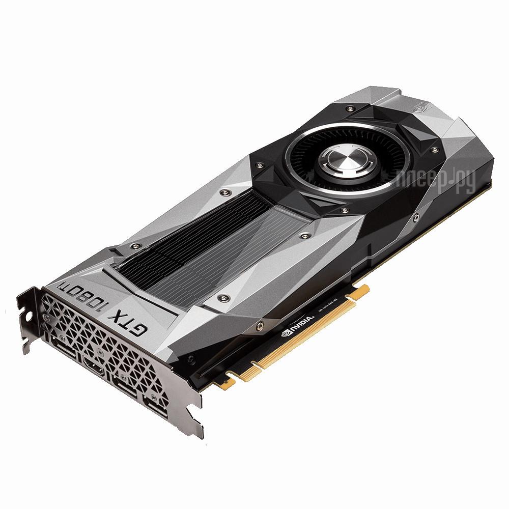Видеокарта GigaByte GeForce GTX 1080 Ti 1480Mhz PCI-E 3.0 11264Mb 11010Mhz 352 bit DVI HDMI HDCP Founders Edition GV-N108TD5X-B