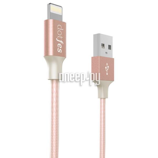 Аксессуар Dotfes USB - Lightning MFI A03F 2.5A 1m Rose Gold 14606