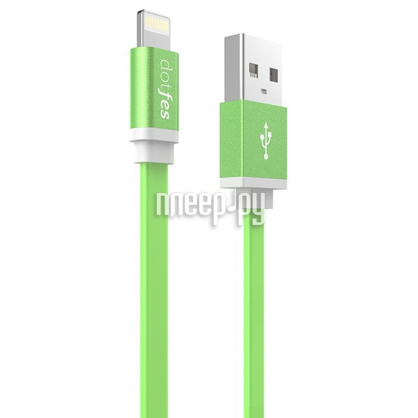 Аксессуар Dotfes USB - Lightning A05 2.5A 1m Green 14624