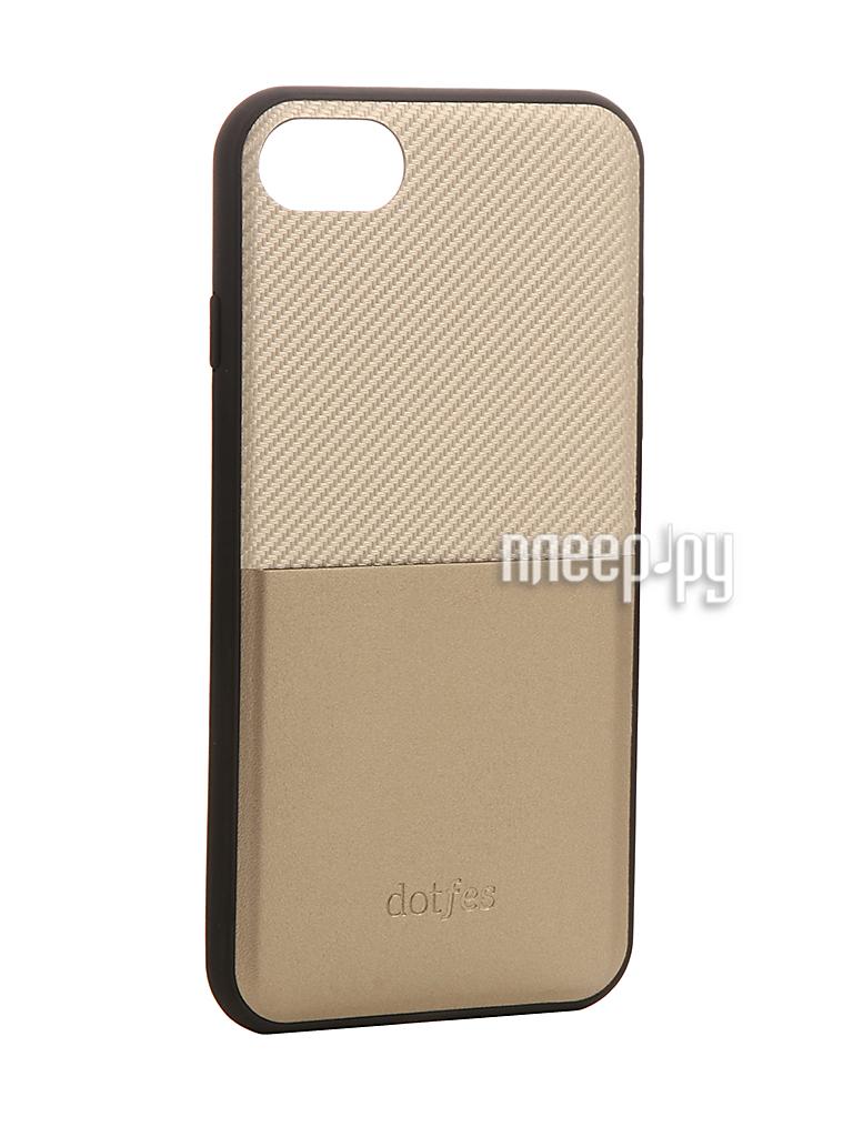 Аксессуар Чехол Dotfes G02 Carbon Fiber Card Case для APPLE iPhone 7 Gold 47062