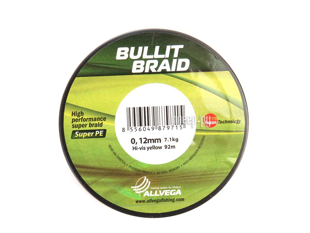 Шнур плетёный Allvega Bullit Braid 0.12mm 92m Hi-Vis Yellow 044787