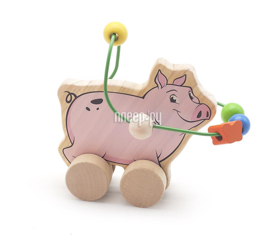Игрушка Мир деревянных игрушек Лабиринт-каталка Свинья Д367
