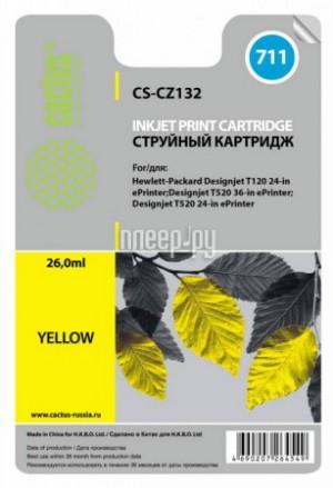Купить Картридж Cactus CS-CZ132 №711 Yellow для HP DJ T120/T520 26мл