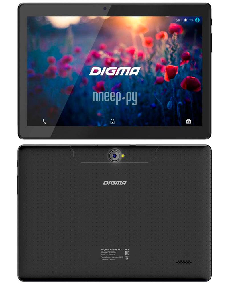 Планшет Digma Plane 1710T 4G Black (MediaTek MTK8735P 1.0 GHz / 1024Mb / 8Gb / LTE / GPS / Wi-Fi / Bluetooth / Cam / 10.1 / 1280x800 / Android) 403103