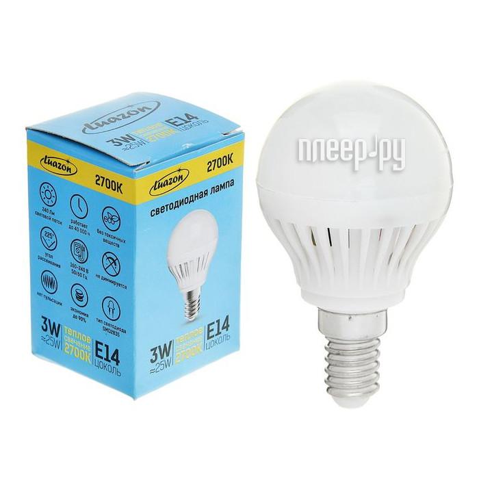 Лампочка Luazon E14 3W 2700К 1489103