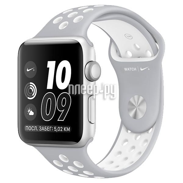 Умные часы APPLE Watch Nike+ 38mm Silver Aluminium Case with Flat Silver-White Nike Sport Band MNNQ2RU/A