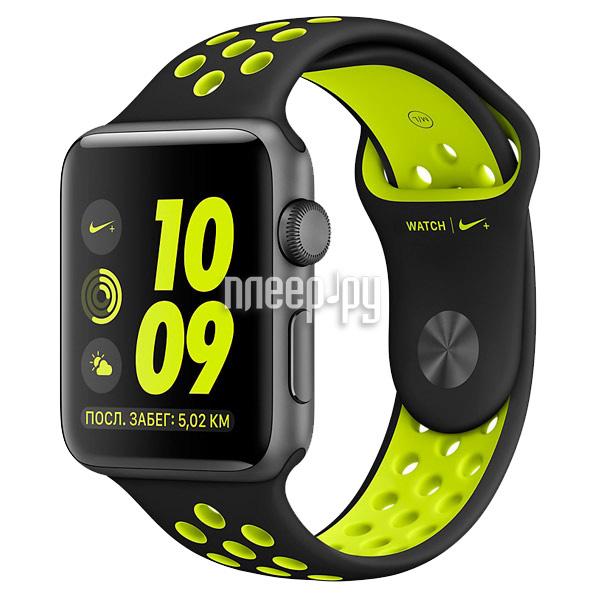 Умные часы APPLE Watch Nike+ 38mm Space Grey Aluminium Case with Black-Volt Nike Sport Band MP082RU/A
