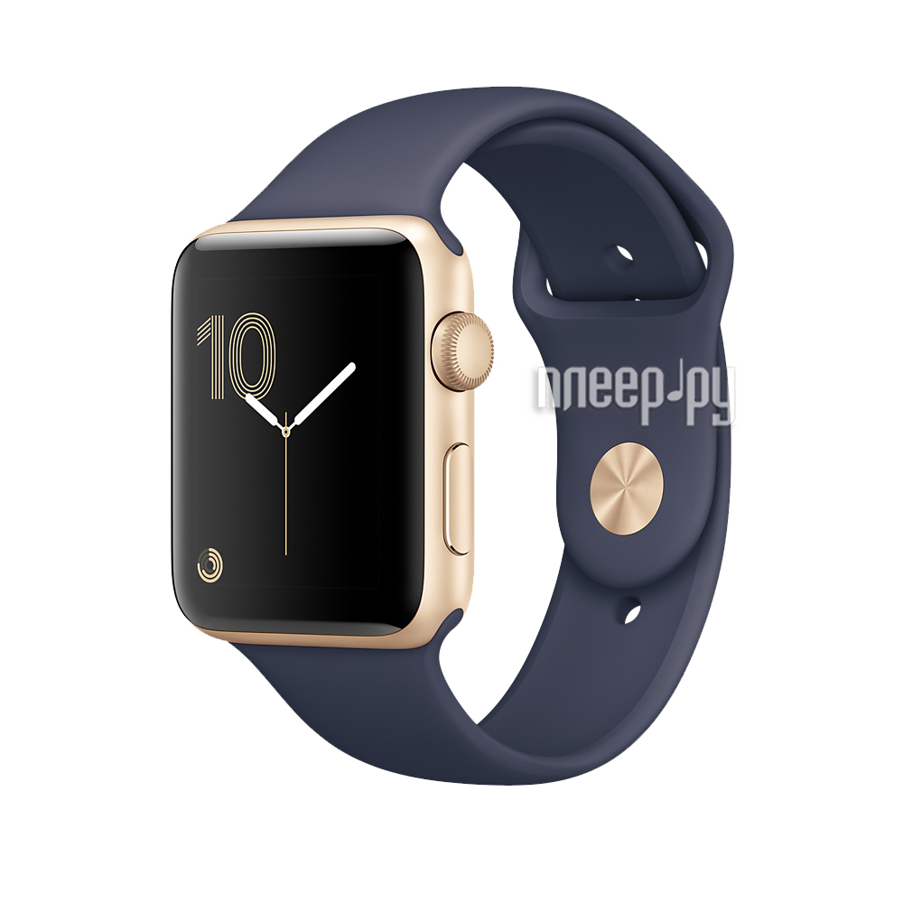 Умные часы APPLE Watch Series 2 38mm Gold Aluminium Case with Midnight Blue Sport Band MQ132RU / A