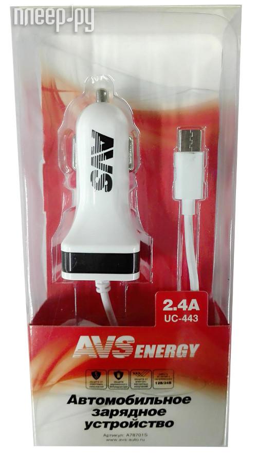 Зарядное устройство AVS USB + Type-C UC-443 A78701S