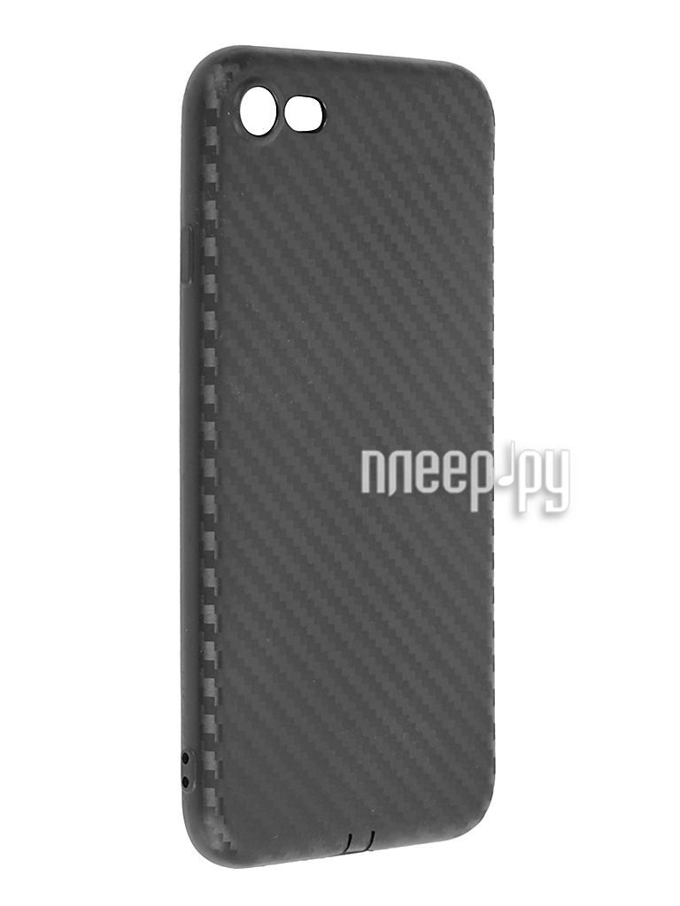 Аксессуар Чехол SkinBox Silicone Carbon для iPhone 7 Black T-S-AI7-015