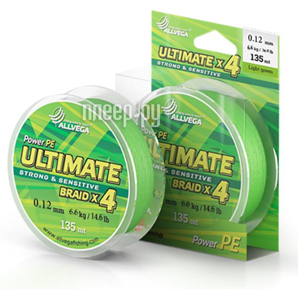Шнур плетёный Allvega Ultimate 0.12mm 135m 6.6kg Light Green U135LGR012