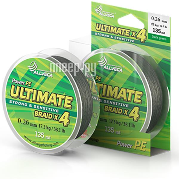 Шнур плетёный Allvega Ultimate 0.26mm 135m 17.3kg Dark Green U135DGR026