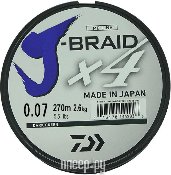 Шнур плетёный Daiwa J-Braid X4 0.07mm 270m Green 12741-107RU