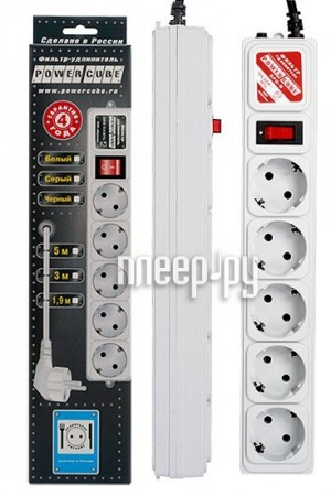 Сетевой фильтр Power Cube SPG-B-6 5 Sockets 1.9m Grey  Pleer.ru  121.000