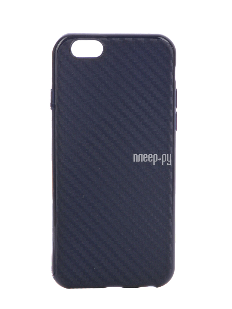 Аксессуар Чехол Krutoff Silicone Carbon для iPhone 6 / 6S Blue 11839
