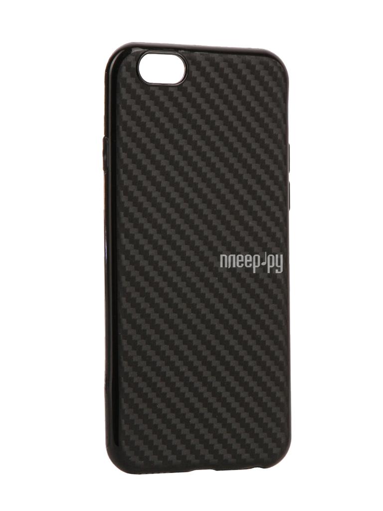 Аксессуар Чехол Krutoff Silicone Carbon для iPhone 6 / 6S Black 11838