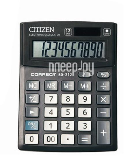 Калькулятор CITIZEN SD-212 Black двойное питание