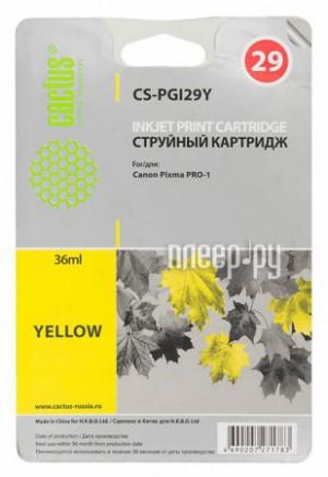 Купить Картридж Cactus (аналог Canon PGI-29Y) Yellow для Pixma Pro-1 36ml CS-PGI29Y