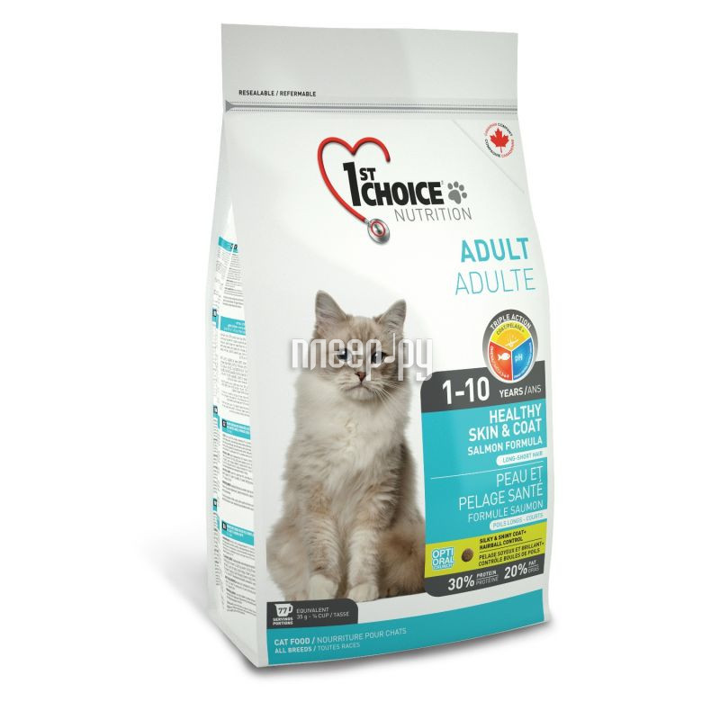 Корм 1st Choice Лосось 350g для кошек здоровая кожа и шерсть 102.1.220