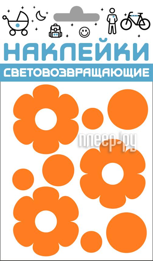 Светоотражатель Cova Наклейки Цветочки 100x85mm Orange 333-408
